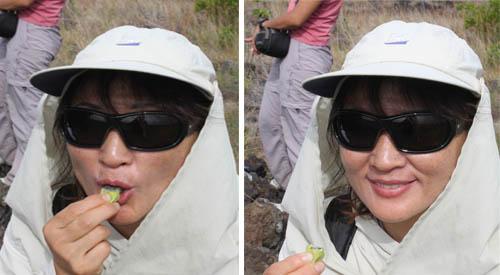 Keauhou-Miyo-Eating-Lilikoi