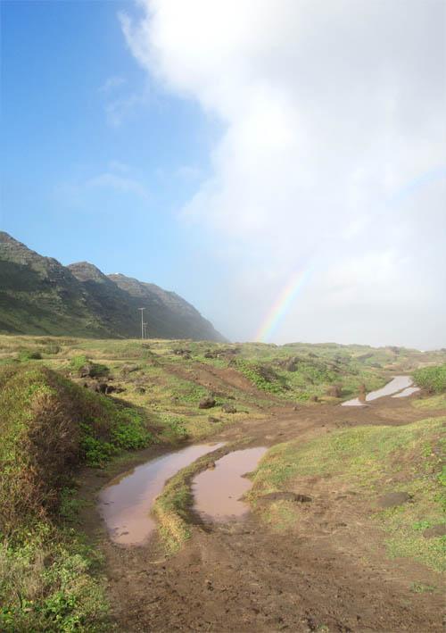 Kaena-Pt-Mokuleia-Muddy-Puddles-Rainbow-Sml